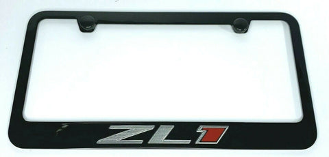 Chevy Camaro ZL1 License Plate Frame - Black w/ Silver and Red Logo - Front