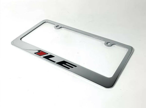 Chevy Camaro 1LE Chrome License Plate Frame - Premium Engraved Emblem - 1