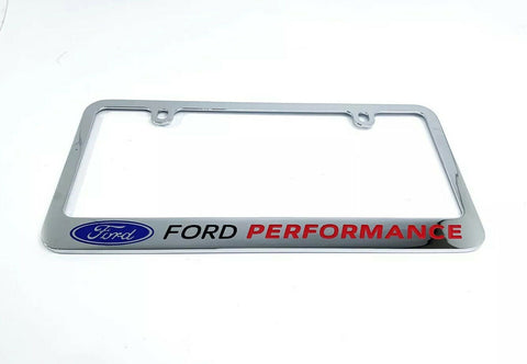 Ford Performance Premium Chrome License Plate Frame w/ Blue Oval Emblem - 2