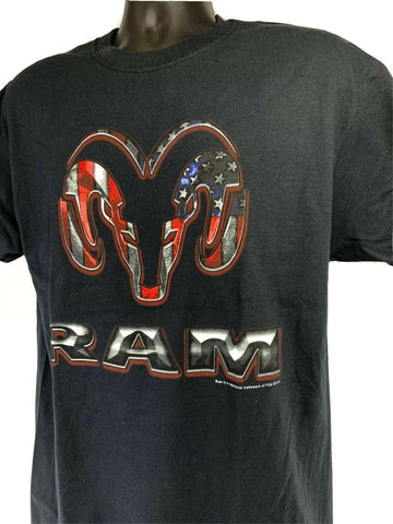 Black T-Shirt w/ Red White & Blue American Flag Dodge Ram Truck Emblem - 3