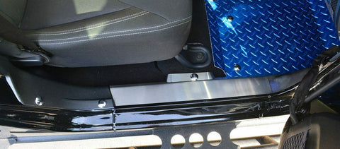Image of Pair of 2007-18 Jeep Wrangler JK Inner Door Sill Plates for Front - Brushed Stainless Steel - 2