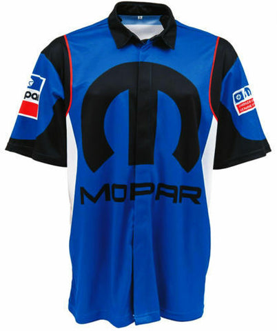Racing Pit Style Button Up Shirt w/ Embroidered Mopar Logo / Emblem
