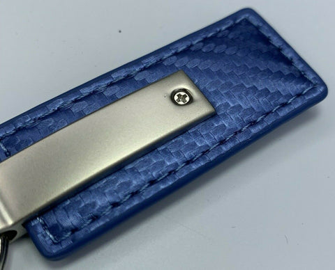 HEMI Keychain - Blue Carbon Fiber Look Leather - Back