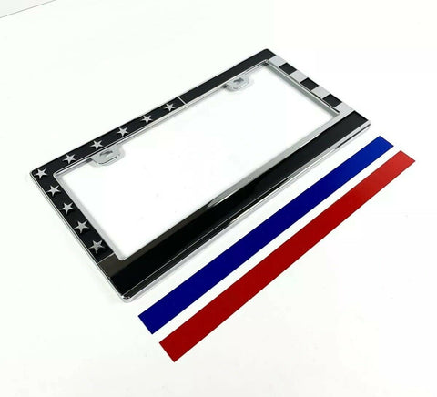 Image of American Flag License Plate Frame - Police Firefighter First Responder
