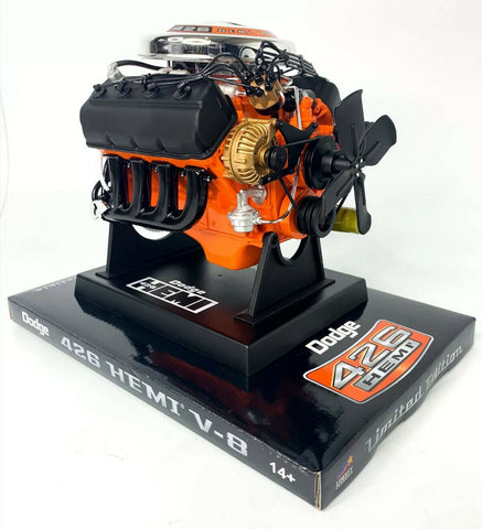 Model Engine 1:6 Scale Replica Diecast Of Orange Dodge HEMI 426 Motor - 3