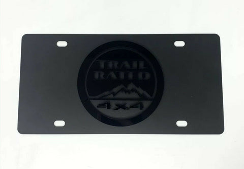 Jeep Trail Rated 4x4 License Plate - Black w/ 3D Gloss Black Emblem - 1
