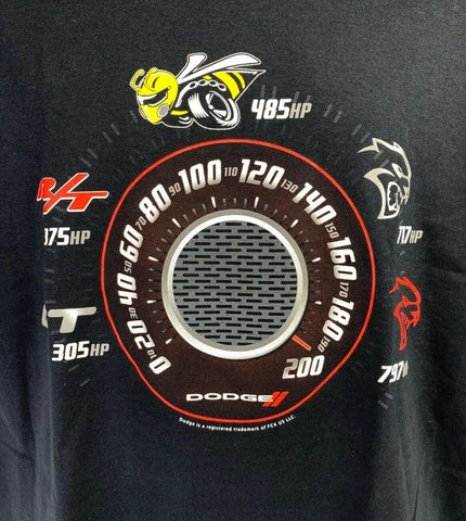 Image of Black T-Shirt w/ Speedometer Dodge Challenger & Charger Trim Levels - 1