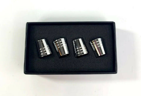 Lincoln Valve Stem Caps - Tapered Chrome w/ Black - Side
