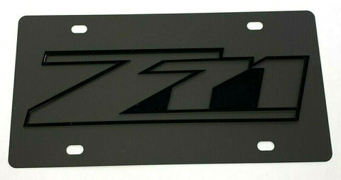 Chevy Z71 Emblem Vanity License Plate - Black