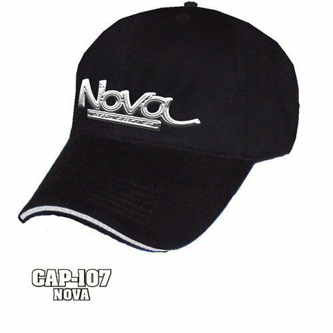 Chevy Nova Hat - Black w/ Chrome Liquid Metal Emblem - Main