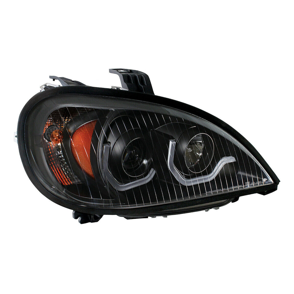 "Pair ""Blackout"" Headlights with White LED Light Bar for Freightliner Columbia - 5"