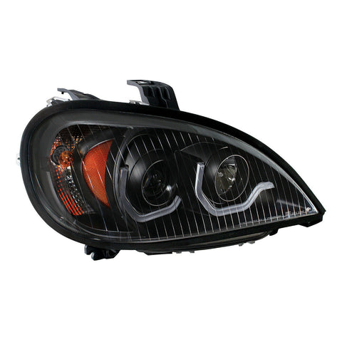 "Image of Pair ""Blackout"" Headlights with White LED Light Bar for Freightliner Columbia - 5"