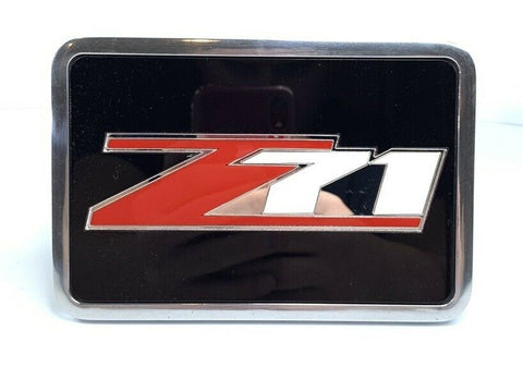 Chevy Z71 Tow Hitch Cover - Black w/ Red and Silver Logo - Front 1