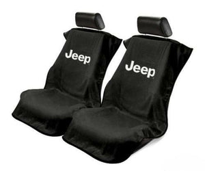 Pair Black Universal Seat Armour Cover Protectors for Jeep (Licensed)