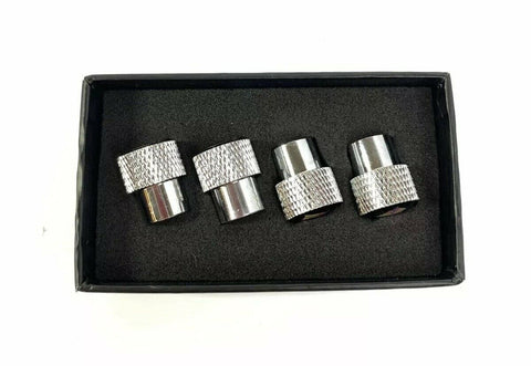 Dodge HEMI Valve Stem Caps - Knurled Chrome w/ Black - Side