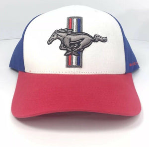 Ford Mustang Hat - Red White and Blue Tri Bar Pony Logo - Main