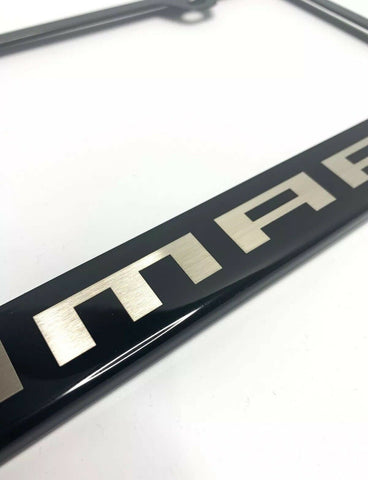Image of Chevy Camaro License Plate Frame - Black w/ Silver Logo - Logo 2
