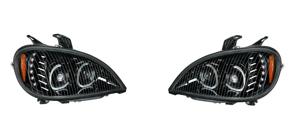 Pair of Blackout LED Headlights with LED Turn Signal & Halo for Freightliner Columbia - 4
