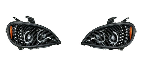 Image of Pair of Blackout LED Headlights with LED Turn Signal & Halo for Freightliner Columbia - 4