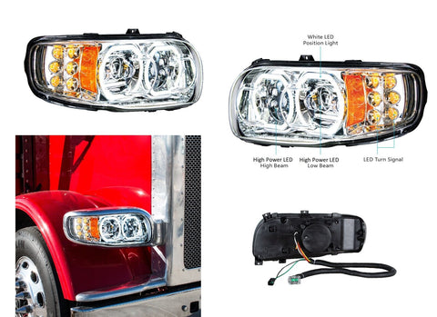 Image of Pair of All LED Headlights with LED Halos DLR & Turn Signals for Peterbilt 388/389