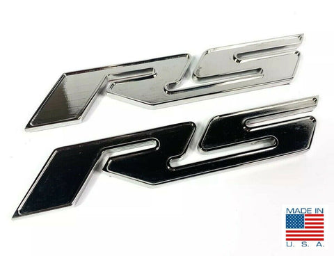 Image of Pair of 2010-2018 Chevrolet Camaro RS Side Emblems -  Chrome Billet Aluminum