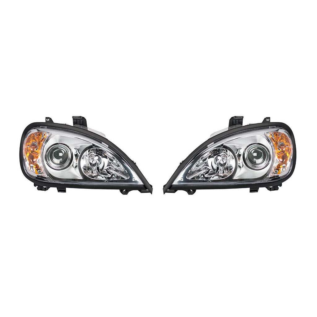 Pair of Chrome Projection Headlights for 1996-2018 Freightliner Columbia - 2
