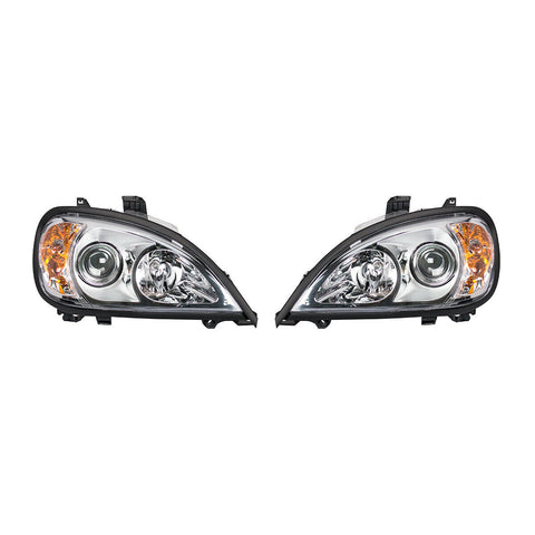 Image of Pair of Chrome Projection Headlights for 1996-2018 Freightliner Columbia - 2