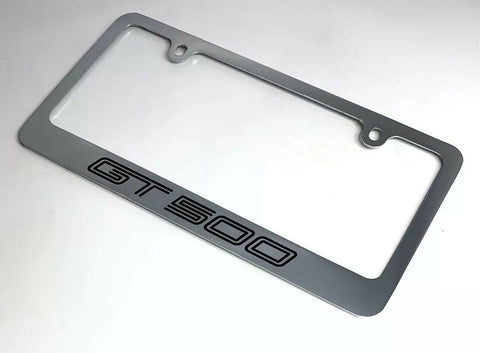 Mustang Shelby GT500 Chrome License Plate Frame - Premium Engraved - 2