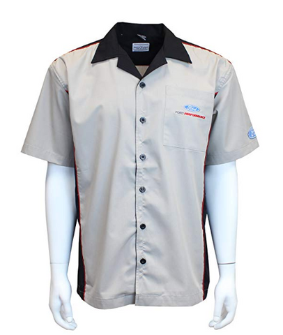 Image of Mechanic Style Button Up Shirt - Gray & Black w/ Ford Performance Emblem / Logo - 1