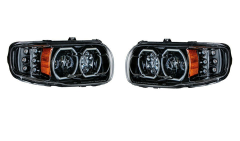 Image of Pair of Blackout LED Headlights with LED Halos & Turn Signals for Peterbilt 388/389 - 1