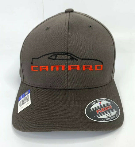Image of 5th Generation Chevy Camaro Hat / Cap - Gray w/ Black Silhouette & Script Emblem - 1