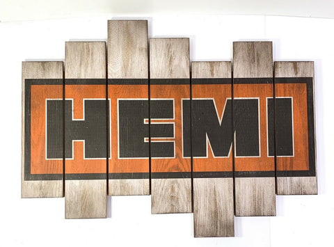 Image of Vintage Dodge Hemi Wooden Plaque Sign - Main