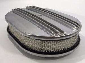 "12"" Oval Half Finned Air Cleaner Assembly, Polished Aluminum Classic Chevy Ford"