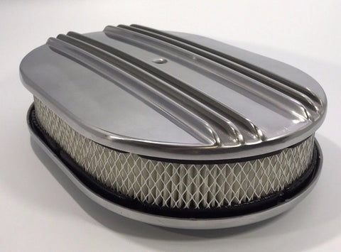 "Image of 12"" Oval Half Finned Air Cleaner Assembly, Polished Aluminum Classic Chevy Ford"