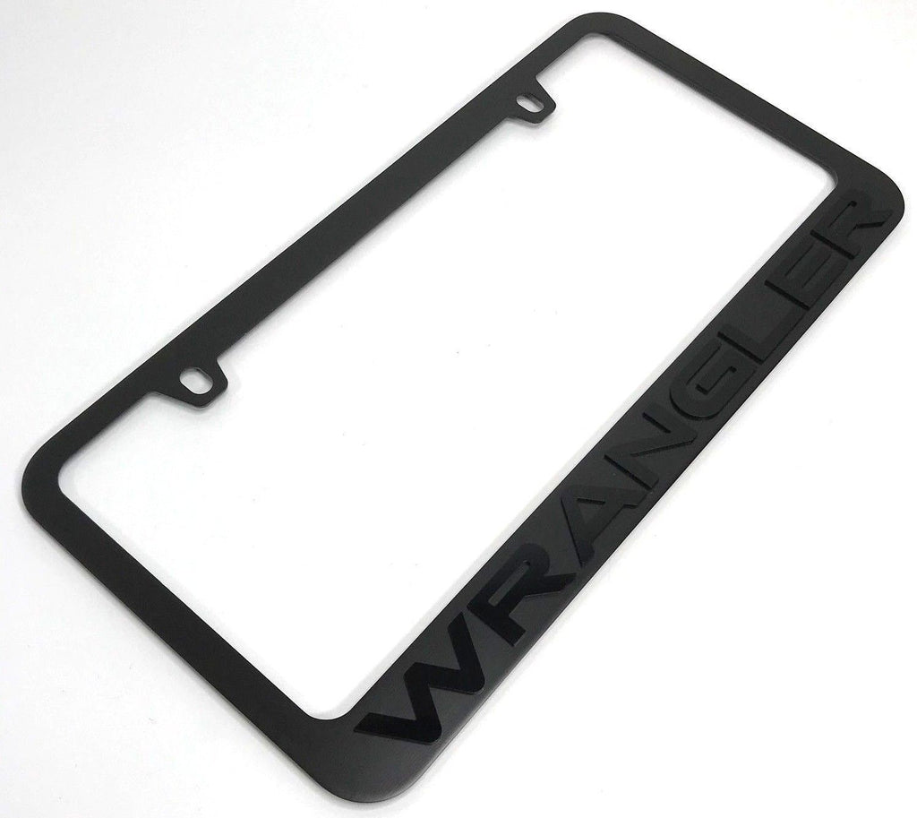 Jeep Wrangler License Plate Frame - Black with Black Letters (Main)
