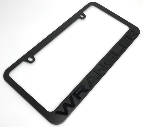 Image of Jeep Wrangler License Plate Frame - Black with Black Letters (Main)