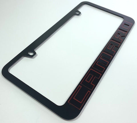 Image of Chevrolet Camaro License Plate Frame - Black with Red (Main)