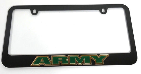 Army License Plate Frame - Black with Green Letters (Front)