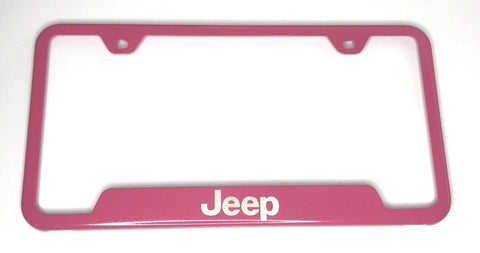 Jeep License Plate Frame - Pink with Logo Emblem (Front)