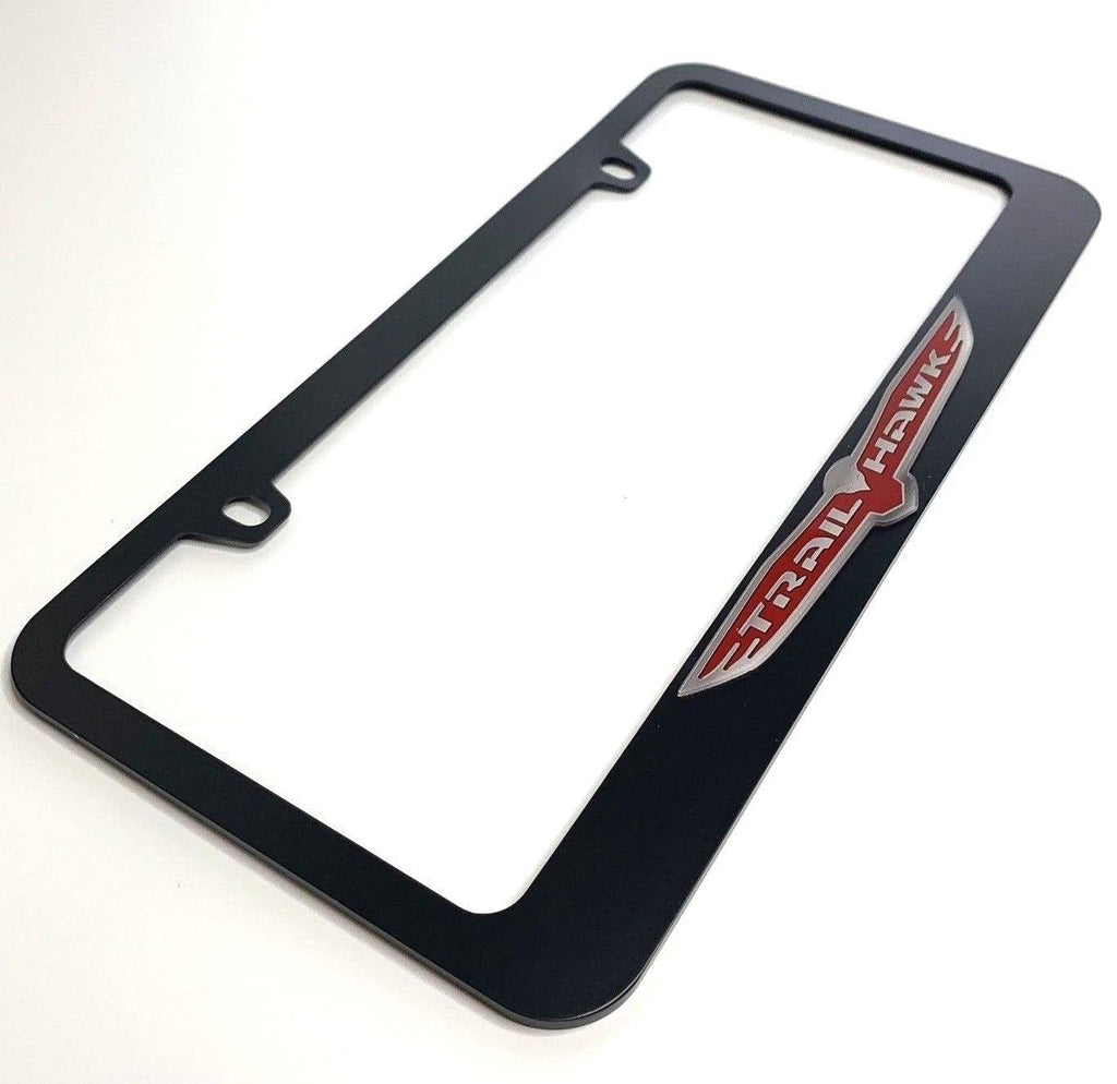 Jeep Trail hawk License Plate Frame - Black with Chrome (Side)