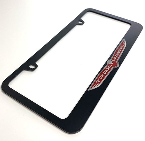Image of Jeep Trail hawk License Plate Frame - Black with Chrome (Side)