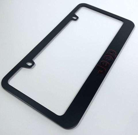 Image of Jeep License Plate Frame - Black with Red Surround (Side)