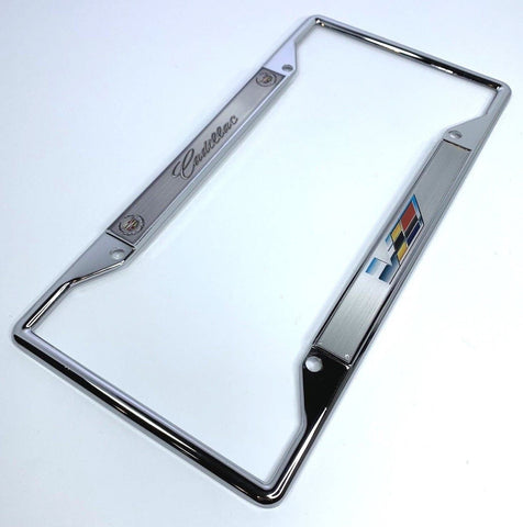 Image of Cadillac V-Series License Plate Frame - Chrome with Emblem (Main)