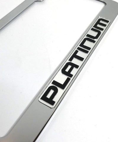 Image of Ford Platinum License Plate Frame - Chrome with Black Script (Front)