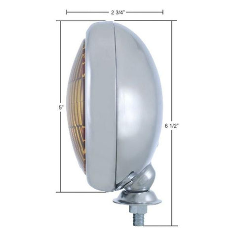 Image of Vintage Round Chrome Clear Fog Light - 12V - Measurements