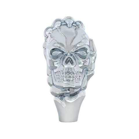 Image of Shift Knob - Chrome Metal Skull - Front