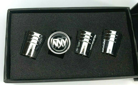 Buick Valve Stem Caps - Tapered Chrome w/ Black - Set 2