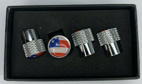 American Flag Valve Stem Caps - Knurled Chrome - Set