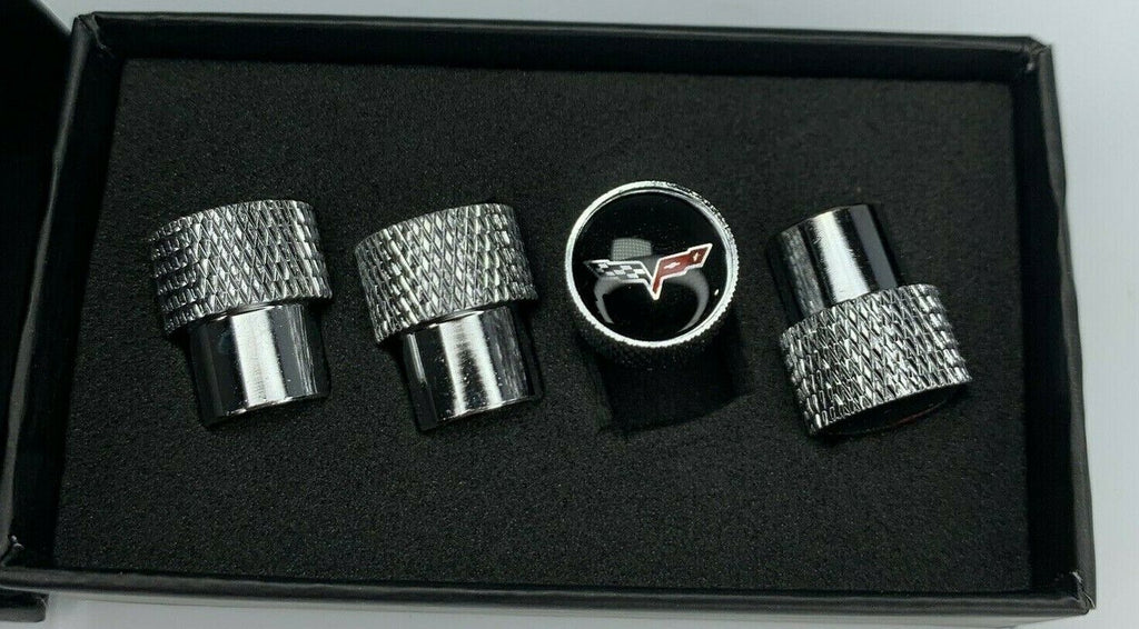 Corvette C6 Valve Stem Caps - Knurled Chrome w/ Black - Set