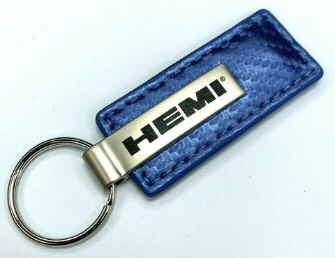HEMI Keychain - Blue Carbon Fiber Look Leather - Front